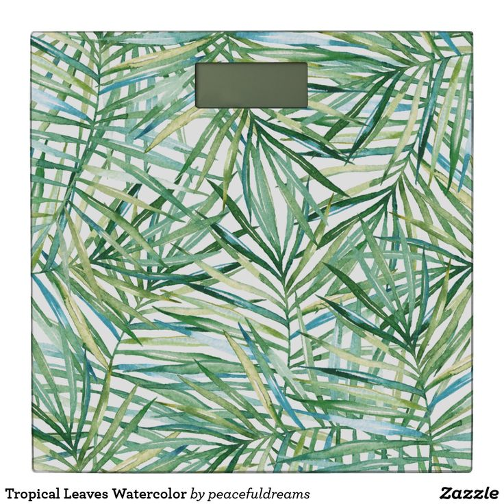 Tropical Leaves Watercolor Bathroom Scale
