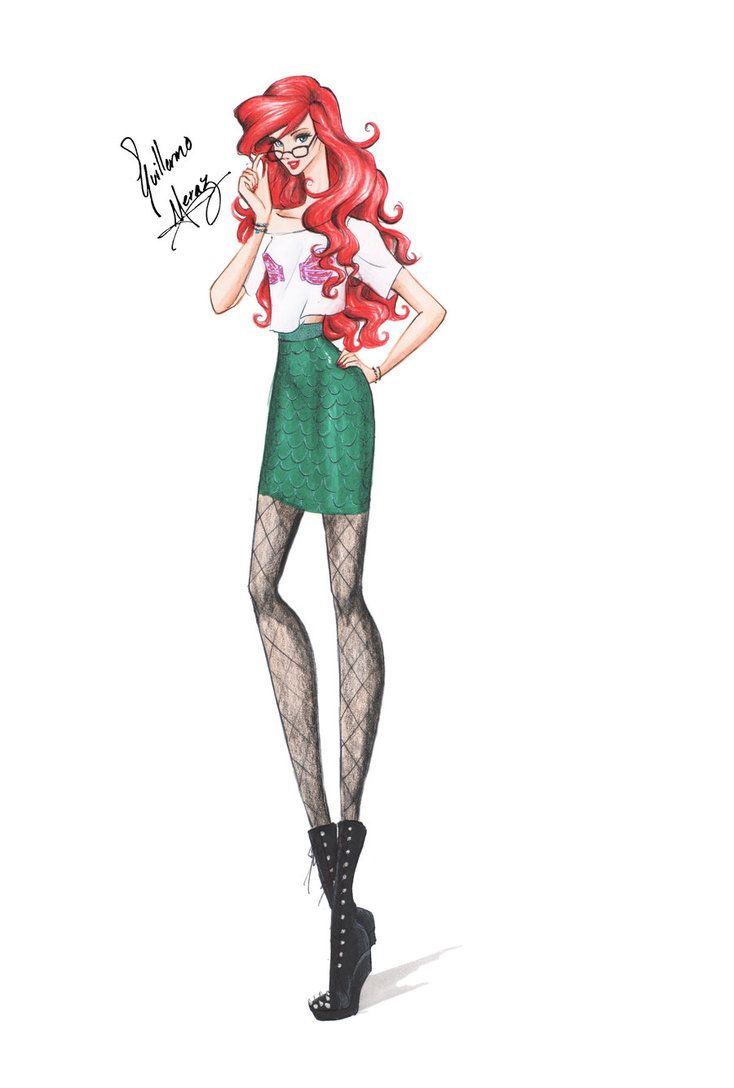 Guillermo García Meraz, art, illustration, fashion, fashion sketches, high fashion, Disney, fan art, film, Ariel