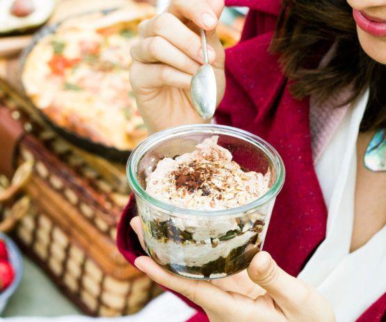 Chocolate yoghurt and cinnamon prune granola jars by Nadia Lim | NadiaLim.com