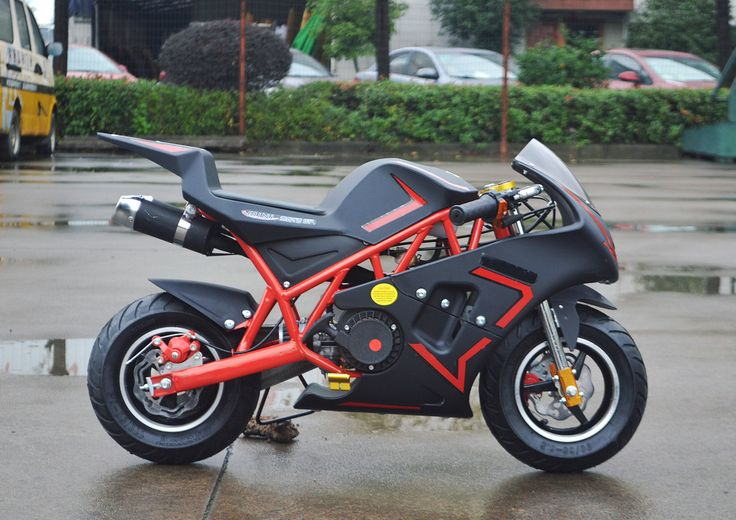 FREE SHIPPING - CANADA & USA New Four Stroke 49cc Mini Pocket Bike Top speed= 65km/h/40mph Installed Kill Switch, and Adjustable Speed Governor Speed Can Be Limited As Low As 8 km/h Dimensions Assembl