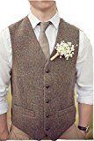 Brown Tweed Vests Wool Herringbone British Style Custom Made Mens Vest Slim Fit Blazer Rustic Wedding Groomsmen Suits For Men L