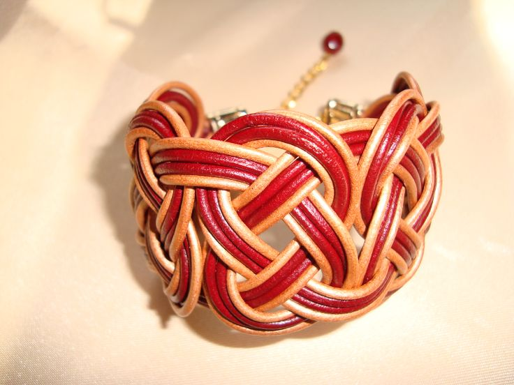 leather bracelet in gold and red  https://www.facebook.com/pages/Handmade-Creations-by-Efi/187659788043676