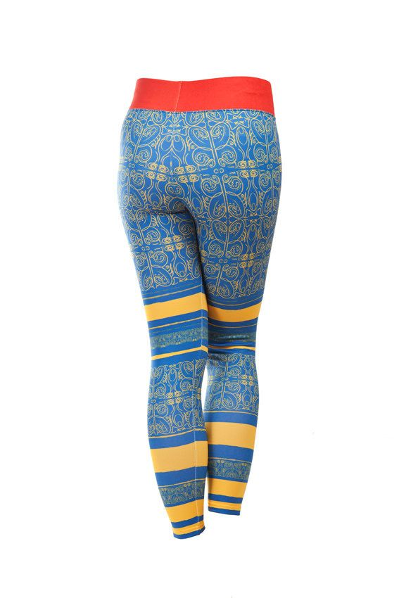 Leggings Kayan Blue Activewear Warm Outdoor Printed Tattoo Hiking Climbing Skiing Pants