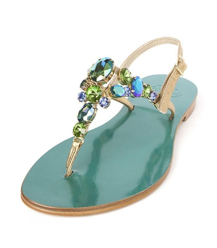 crystal embellished sandals - Green Emanuela Caruso Capri 3CojBY93