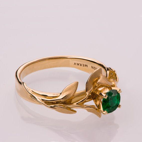 14K Gold und emerald Verlobungsring und ein Gold Trauring, Verlobungsring, Ehering, Herrenring