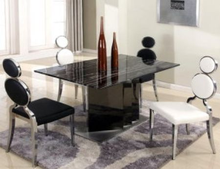 Image of OPRAH-DT-WHT Oprah Solid Marble Dining Table and Stainless Steel Dining Table Base + 4 White Dining Room