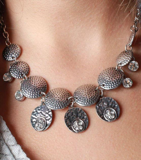 Create this #DIY silver medallion necklace in under an hour!