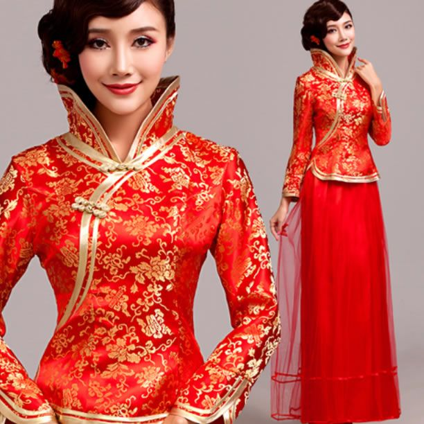 Ancient to modern Chinese fashion - costumes - styles  Chinese wedding gowns - qipao - Mandarin collar dress