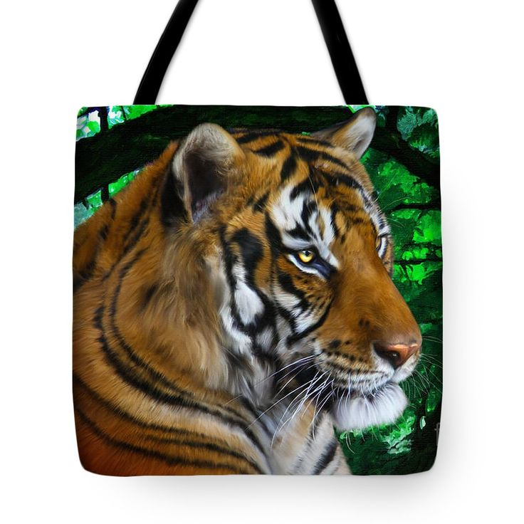 Tiger Contemplation tote bag by Tracey Everington. Tiger digital painting - photoshop