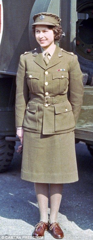 The image of Queen Elizabeth as an 18-year-old (pictured) in wartime ambulance service uni...