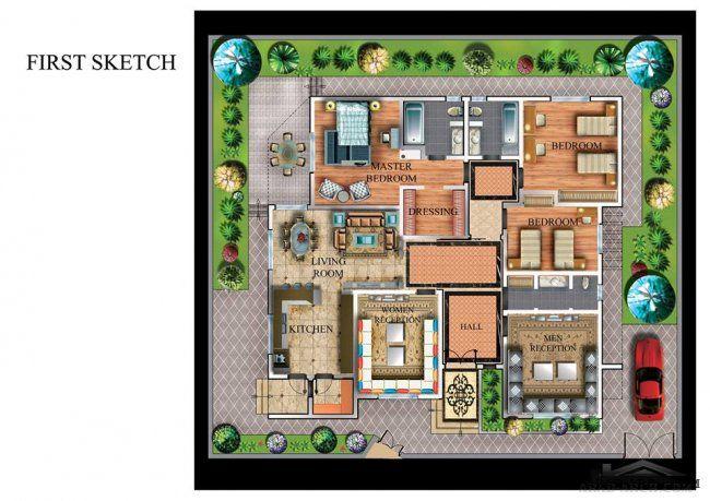 سكاتشات فيلا في طرابلس مساحة الارض 300 م مكتب أركان للتصاميم الهندسية و الديكورات New House Plans Design Living Room Kitchen