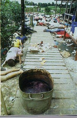 """""""On November 18, 1978 912 followers of American cult leader Jim Jones (""""Peoples Temple"""") died in a remote South American jungle compound called """"Jonestown"""" in British Guyana. Some members were shot, others were forced to drink poison, but most willingly participated in what Jones said was an act of """"revolutionary suicide."""""""""""