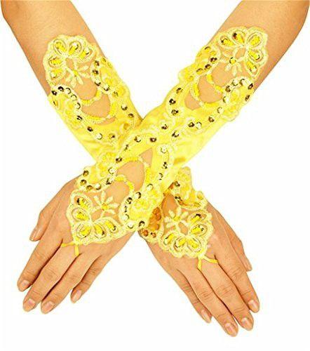 Women' Flora Short Wedding Dress Glove Fingerless Elegant Gloves for Bride Party