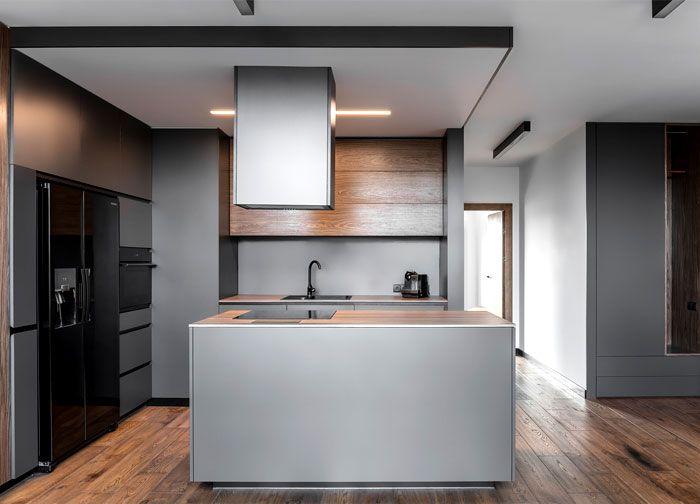 Methaforma group created mezzanine apartment in gray colors moderne kücheminimalistische