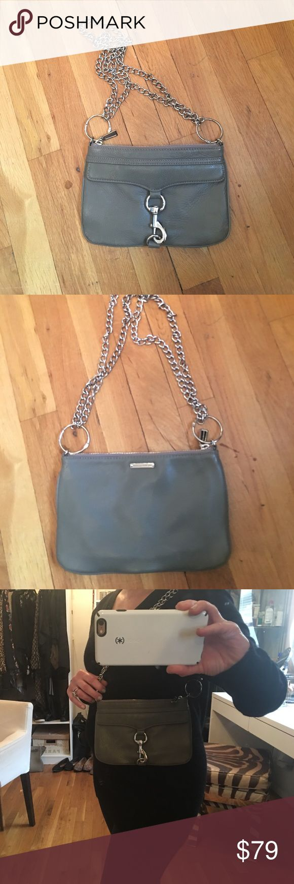 Rebecca Minkoff grey clutch A beautiful grey clutch bag that I made into a shoulder bag with 2 chains and o rings.  Works perfectly if that how you would wish to carry it. Pristine interior and signature lock in front, does not open on front! Silver hardware. Rebecca Minkoff Bags Clutches & Wristlets