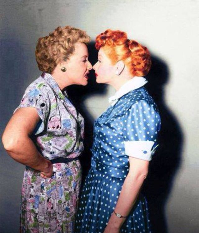 Rare color photo of Vivian Vance & Lucille Ball on the set of I Love Lucy <3