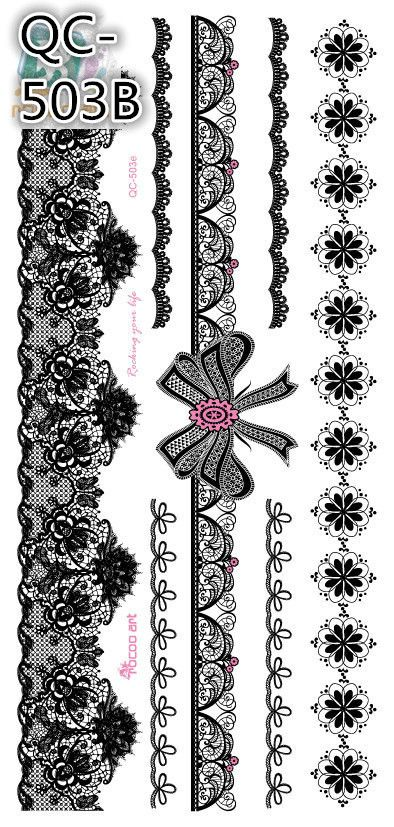 2015 Top Fashion New Arrival Henna Sexy Black Lace Flower Temporary Tattoo Paste India Bindi Tatuagem Art Tattooed Arm Sleeves