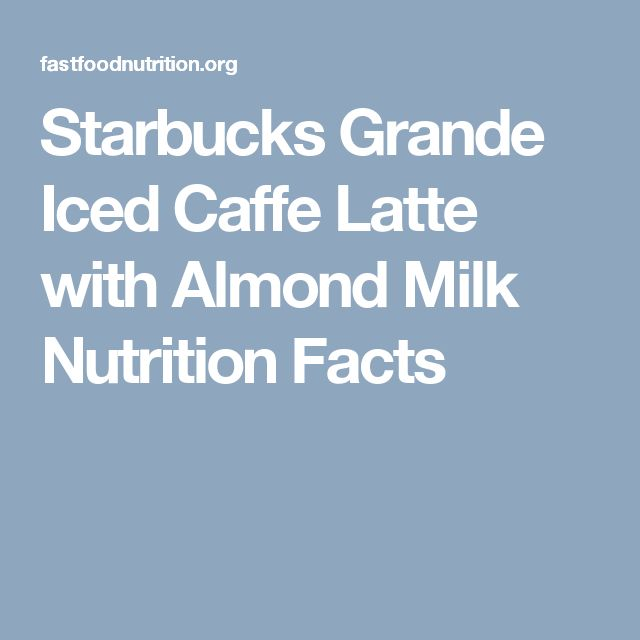 Starbucks Grande Iced Caffe Latte with Almond Milk Nutrition Facts