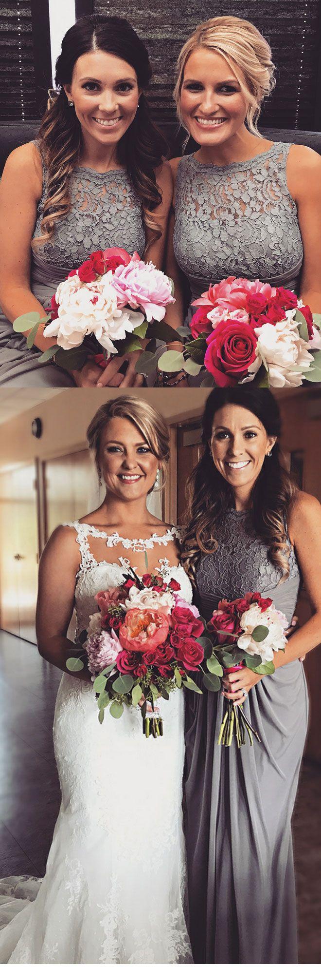 grey bridesmaid dress with lace, chiffon long bridesmaid gowns