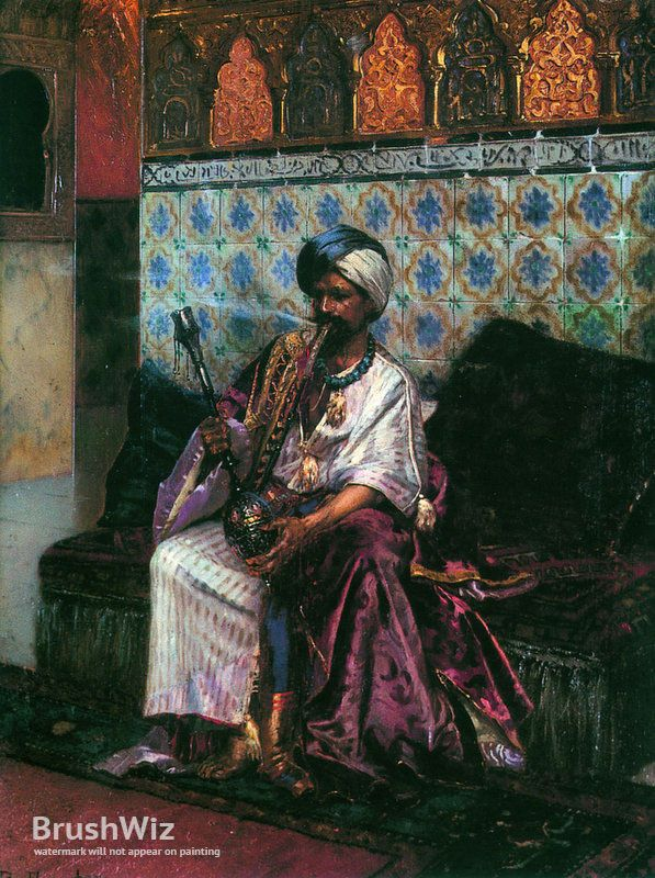 The Smoking Hookah by Rudolf Ernst - Oil Painting Reproduction - BrushWiz.com