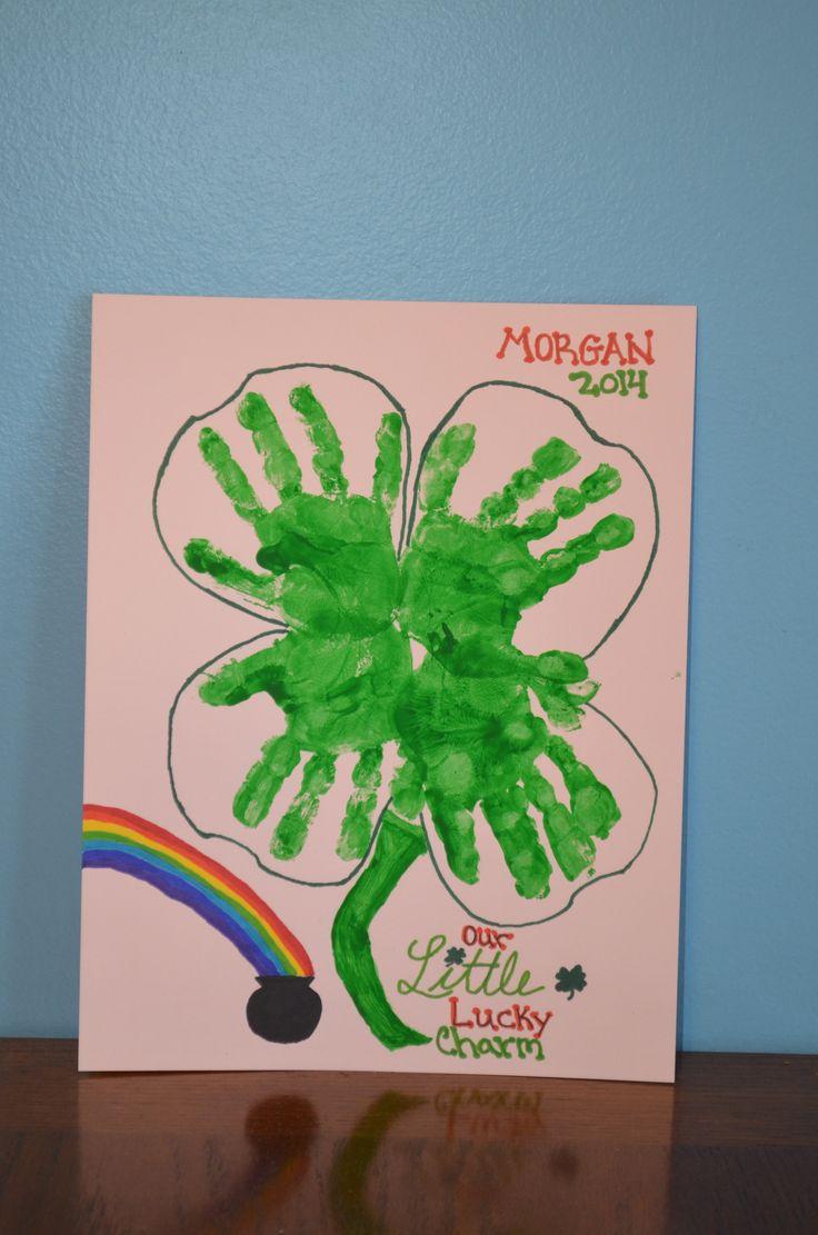 Hand Print Four Leaf Clover