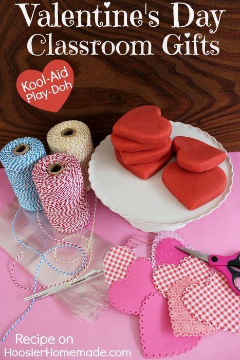 Valentine's Day Classroom Gifts: How to make Kool-Aid Play-Doh :: Recipe on HoosierHomemade.com