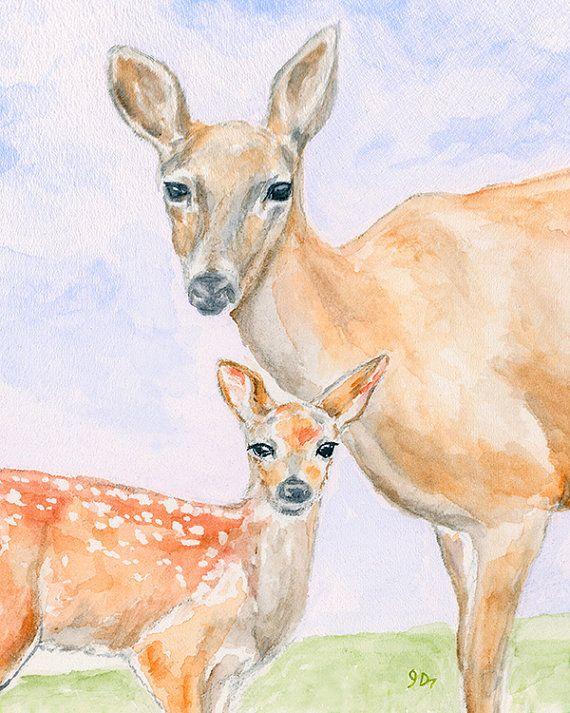 Deer Watercolor Painting Fine Art Print 8 x 10 Deer Doe Fawn Child Kids Wall Decor Baby Nursery Decor Mom Woodland Forest Animal Nature Deer on Etsy, $15.00