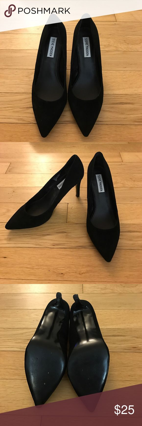 Steve Madden black heels Black leather 3.5 inch heels from Steve Madden. Leather has a smooth suede finishing. Worn once. Back of right heel has a slight scuff. Steve Madden Shoes Heels