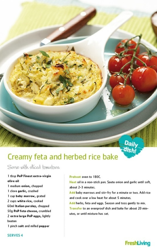 Creamy Feta and Herbed Rice Bake