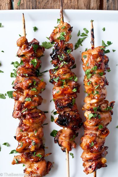 Honey Porter Glazed Chicken Skewers. Savory and scrumptious. Simple recipe. Bring on the appetites:)
