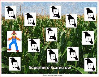 {FREE} Fall Game: Superhero Scarecrow!  PreK/K/1st Grades.