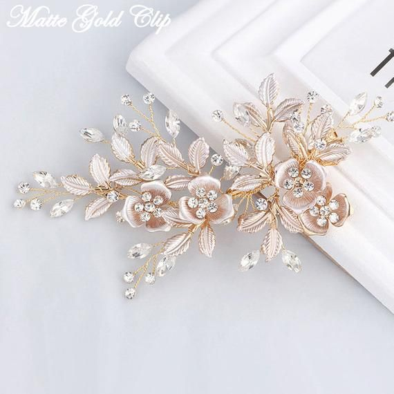 Rose Matte Gold Rose Gold Or Silver Flower Rhinestone Bridal Hair Piece Wedding Hair Clips Bridal Hair Headpiece Bridal Hair Accessories