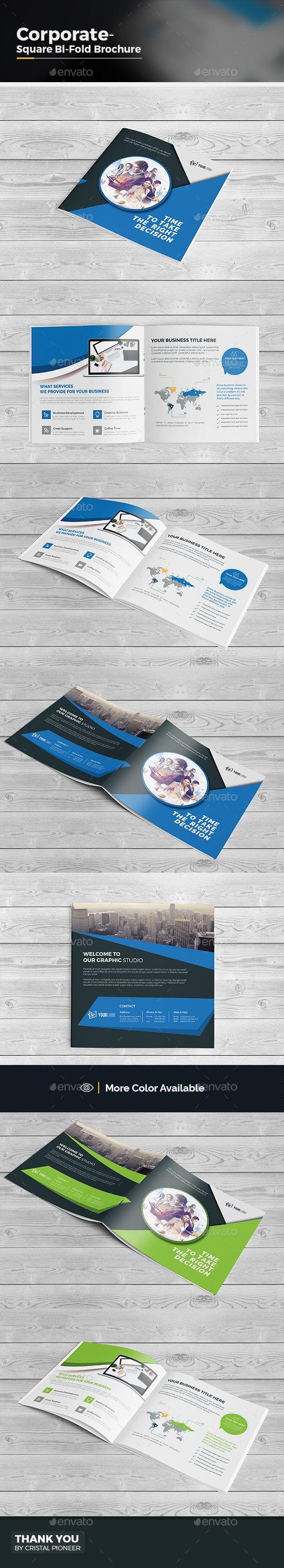 Square Bi Fold Brochure Template Vector EPS, AI Illustrator