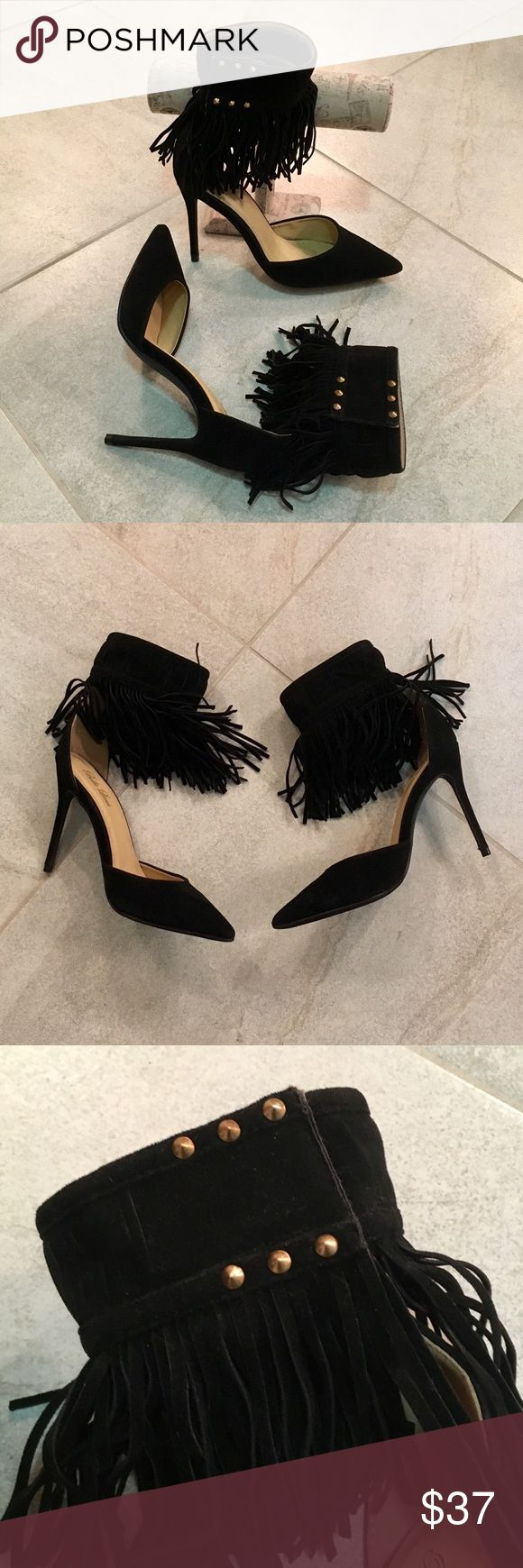 """🔥BLACK•SUEDE•FRINGE•STILLETOS♥️ 🔥🔥🔥Gorgeous!! Black Suede/Fringe Stilettos. Velcro Studded Ankle Straps. Heels 4"""". Note: Tiny Lift On One Velcro Patch (shown in pic) Excellent Condition!! Bella Luna Shoes Heels"""