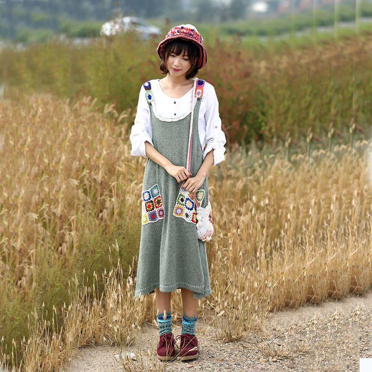 Женщины Мори девушка Fall Вышитые топы платья женские карманные Лоскутная Свободные платья сарафана платье японский жилет
