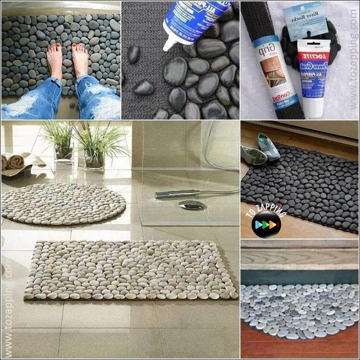 Cómo hacer alfombra con piedras Puedes crear alfombra con piedras aplicando piedras de río a un soporte de malla. Una alfombra de piedras permite que el