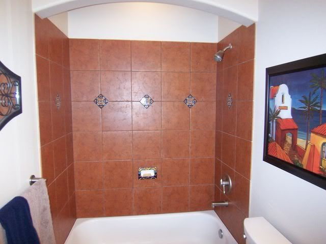Mexican themed bathroom remodel terracotta tiles colored for Mexican themed bathroom ideas