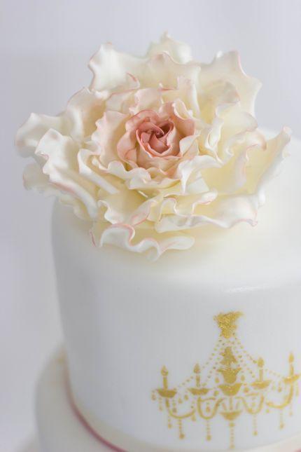 Hochzeitstorte schlicht elegant gold altrosa  Tortenträume ...