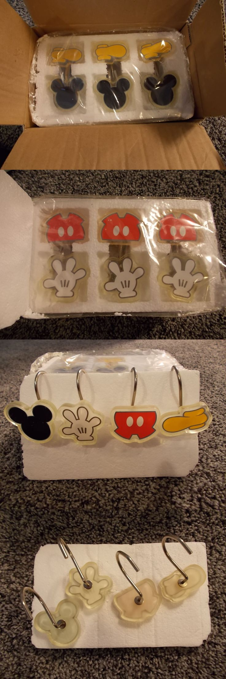 Shower Curtain Hooks 32874: Rare Disney Mickey Mouse Body Parts Shower Curtain Hooks Set Of 12 New In Box -> BUY IT NOW ONLY: $90 on eBay!
