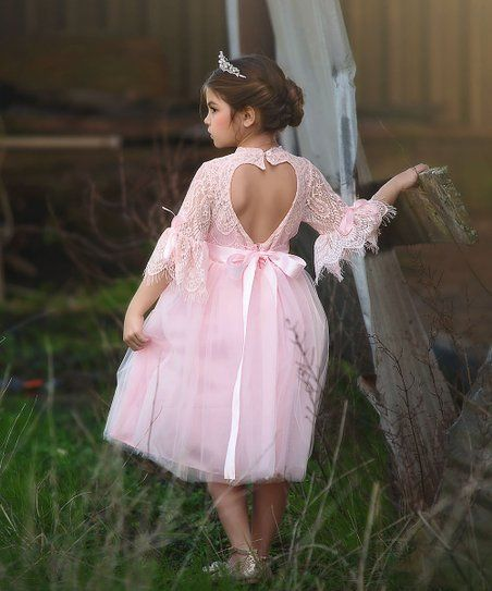 24734333a9 Trish Scully Child Pink Ruffle-Sleeve Lace Ava Dress - Toddler   Girls