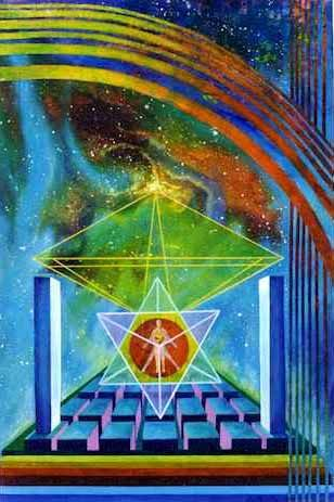 """Merkabah, also spelled Merkaba, is the divine light vehicle allegedly used by ascended masters to connect with and reach those in tune with the higher realms. """"Mer"""" means Light. """"Ka"""" means Spirit. """"Ba"""" means Body. Mer-Ka-Ba means the spirit/body surrounded by counter-rotating fields of light, (wheels within wheels), spirals of energy as in DNA, which transports spirit/body from one dimension to another."""