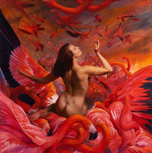 Flamingo Sunrise by Julie Bell