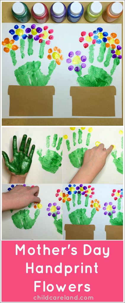 Cute handprint crafts for kids! This makes a great gift for Mother's Day! #MothersDay #FunStuff