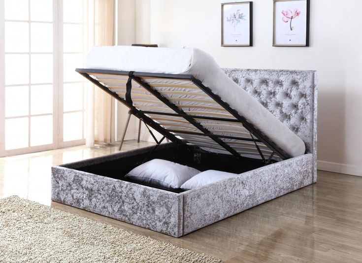 The Yasmin Storage Bed is a wholesome bed in the new trend of crushed velvet, finished in Silver with a fabric base - http://www.furn-on.com/yasmin-silver-crushed-velvet-king-size-storage-bed.html