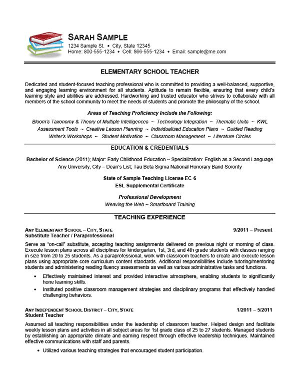 A resume example for a teaching professional with over 10 years of experience as elementary school teacher. This document is good reference for grade school to middle school level teaching professionals.  This example of a teacher resume uses a small book icon on the left to help bring attention t