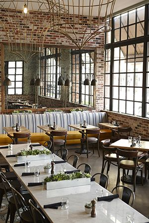 Iron windows and brick walls for a cafe