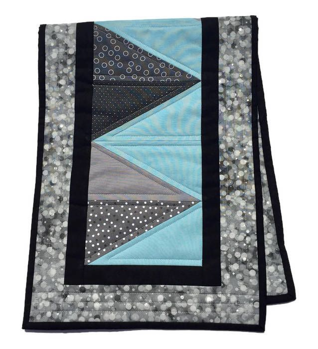 Blue And Gray Quilted Table Runner, Modern Table Runner,Blue And Gray  Bureau Scarf