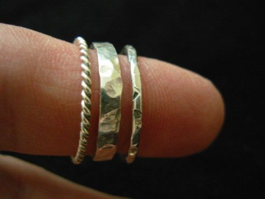 Three silver rings I made in a half-day course.