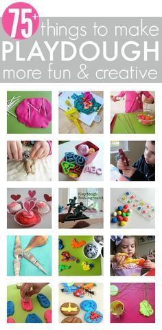 75 playdough add ons. Simple things to add to playdough to take it from average to super fun! Great for preschool free choice activities too.