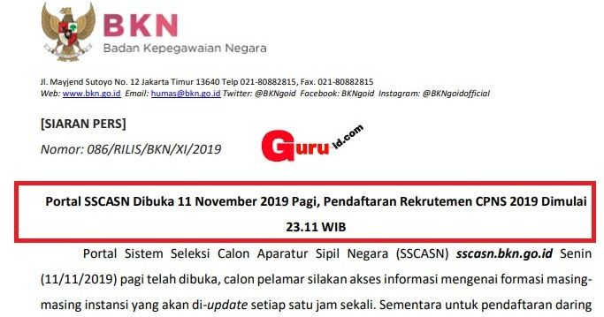 Jadwal Pendaftaran Online Cpns Di Portal Sscn Bkn Go Id Siaran Pers Portal Humas
